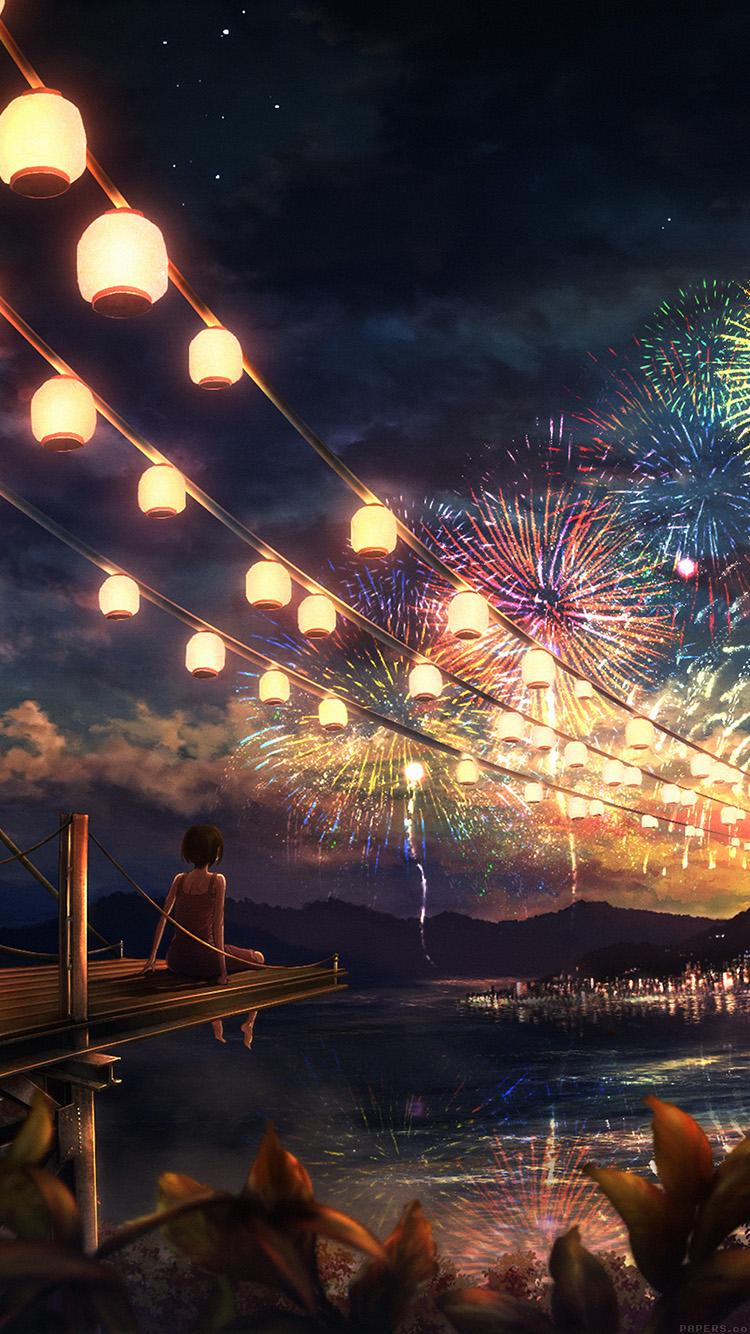 Tumblr iphone wallpaper anime -  Anime Iphone 6 Wallpaper Wallpapersafari Iphone7papers Ah43 Firework Dark Night Anime Art Il