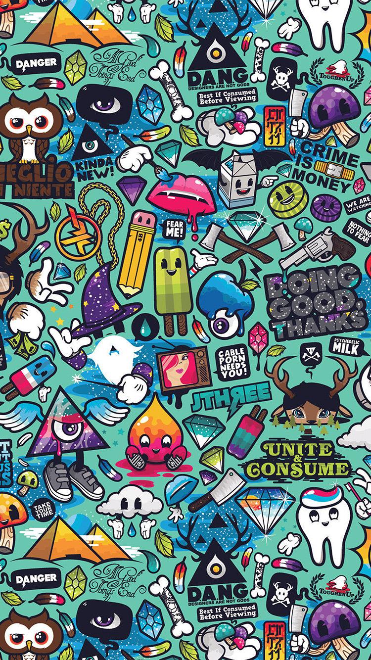 Graffiti art wallpaper iphone - Iphone7papers Com Iphone7 Wallpaper Aq61 Art Work Pattern Illustration Graffiti