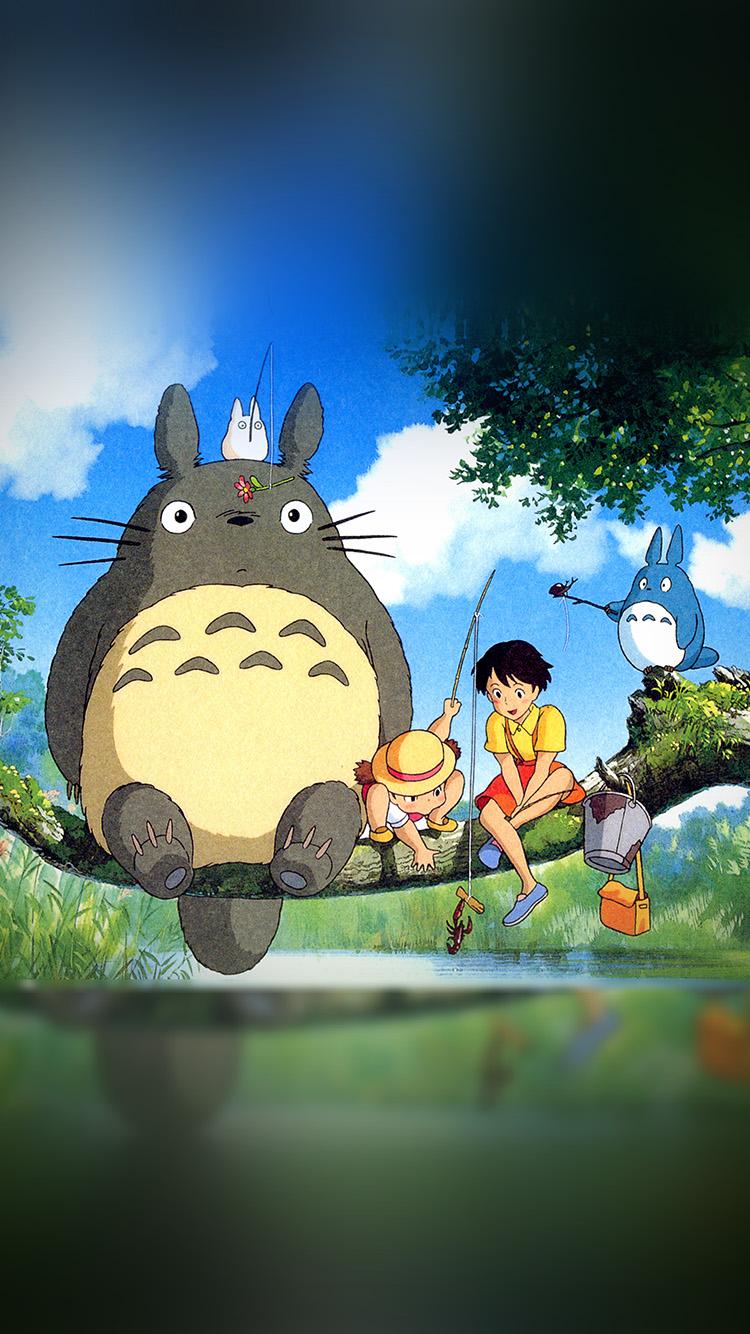 Wallpaper iphone totoro - Iphone7papers Com Iphone7 Wallpaper As73 My Neighbor Totoro Anime Art Illustration